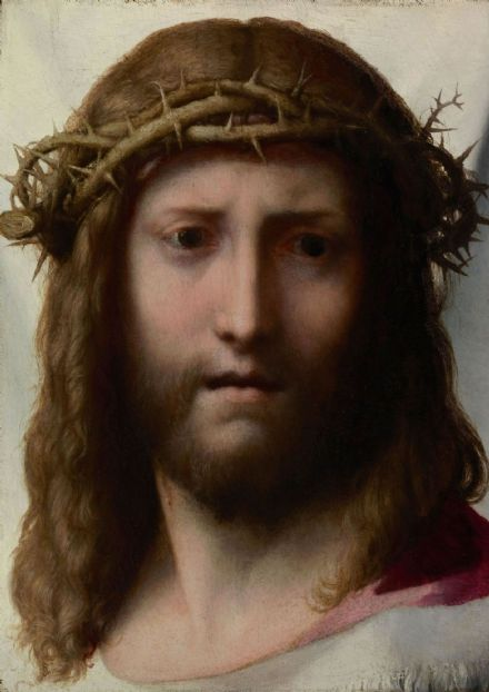 Correggio, Antonio Allegri: Head of Christ. Fine Art Print/Poster. Sizes: A4/A3/A2/A1 (001786)
